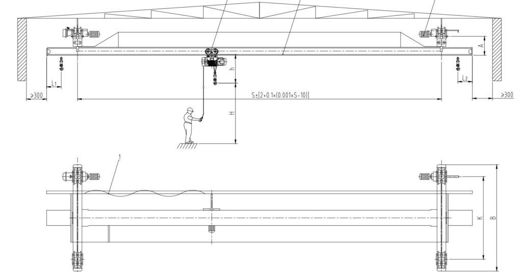 схема чертеж мостового крана чертеж кран балки подвесной